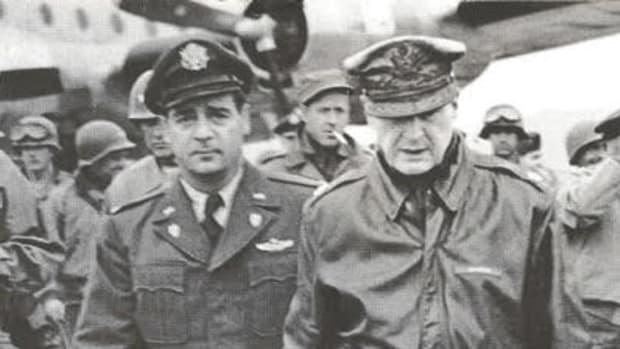 In 1945, Story (left) became General Douglas MacArthur's personal pilot, a position he served until MacArthur's dismissal in 1951.