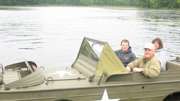 Another happy amphib ride as Kevin Kronlund of Army Cars, USA swims his beautifully restored GPA.