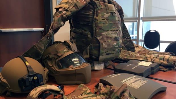 A new generation of Soldier Protection System equipment is displayed during a media roundtable by Program Executive Office Soldier during the U.S. Army Annual Meeting and Exposition in Washington, D.C., Oct. 15, 2019. (Photo Credit: Gary Sheftick)