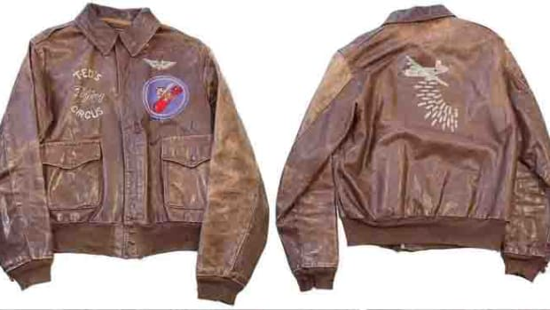 This WWII USAAF A-2 bomber jacket was one of the items sold in Hilde's father's vast collection sold through grenadierauctions.com.