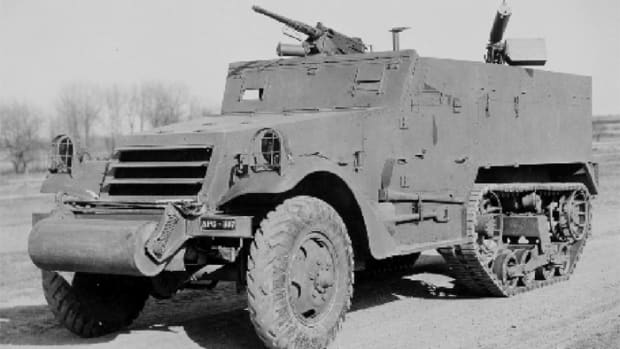 This April 9, 1941, photograph shows the pilot M2 during testing at Aberdeen Proving Ground. Notice the Firestone tread pattern tires on the front axle. Photographic evidence suggests that only the initial production vehicles had this tread pattern, which was soon supplanted by the chevron tread pattern tires, which in turn were replaced by non-directional tread pattern tires.