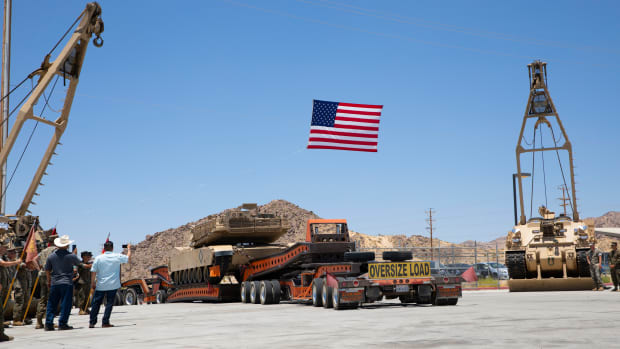 The last tank assigned to 1st Tank Battalion departs Marine Corps Air Ground Combat Center Twentynine Palms, California, July 6, 2020.