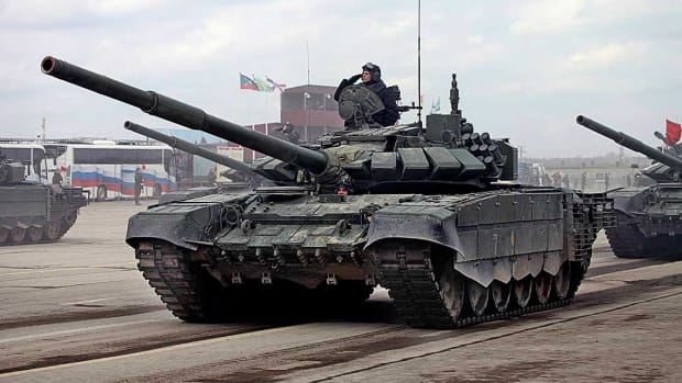 Russian Army T-72B3M parading.