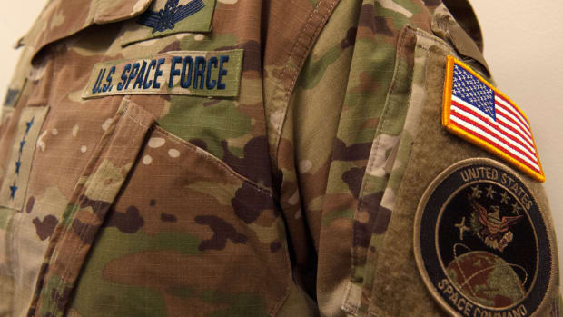 This photo shared via Twitter depicts a nametape and camouflage utility uniform pattern for the new U.S. Space Force.