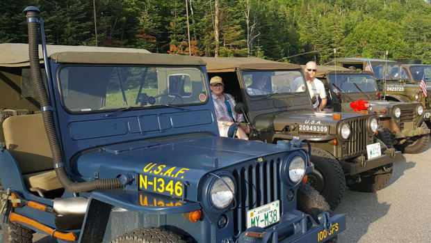 Group of Jeeps photographed on the US-Canada border in Pittsburg, New Hampshire.