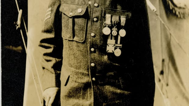 Michael Brophy, a Crimean War veteran, photographed ca. 1914. Brophey was a hero at Sevastopol. Indeed, a quick google search shows he was a bit of a marksman and trench raider in 1855/56 and received the French Medal Militaire as a Lance Corporal. He is seen hear wearing his Crimea Medal, French Military Medal and Sardinian, 62nd (Wiltshire) Regiment of Foot. Regimental medal, and Canadian General Service medal.