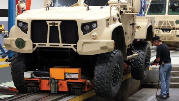 JLTV rolls of the Wisconsin-based Oshkosh Trucks' assembly line.