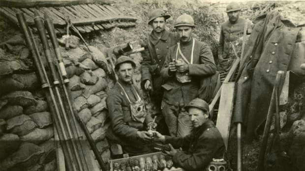 Trench warfare during WWI forced new combat techniques -- including hand-thrown grenades. This photo  shows French soldiers, ca. 1916, preparing a case of grenades during a lull in combat.