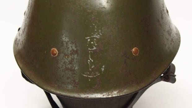 Made in the United States, this Milsco helmet has the stencil of the Royal Netherlands Navy painted on the front.