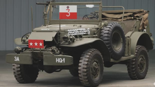 "Worldwide Auctioneers of Auburn, Ind., will be selling this WC-57 at auction in June 2020. Once displayed in museums in Belgium and the United States, the auction company describes it as ""General Patton's Command Car."""
