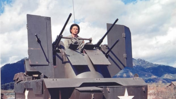 The M16 Multiple Gun Motor Carriage was armed with four .50 caliber machine guns in a power-operated turret.