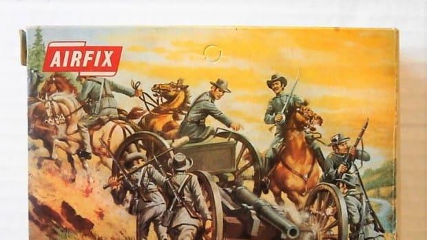 Vintage box art of Airfix Civil War Artillery HO Scale figures.