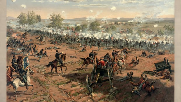 """L. Prang & Co. print of the painting """"Hancock at Gettysburg"""" by Thure de Thulstrup, showing Pickett's Charge. Restoration by Adam Cuerden. This is a retouched picture, which means that it has been digitally altered from its original version."""