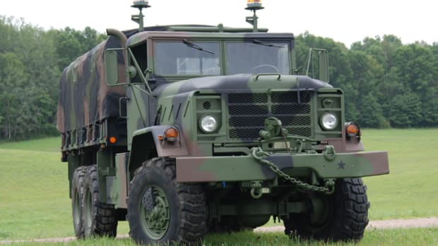 Standard-length, winch-equipped trucks with drop-side cargo beds were designated M925. This 1986 AM General M925A1 5-ton was restored from the frame by Brad Holcomb.