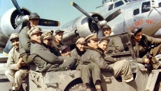 "Crew of B-17G Fortress ""I'll Get By"" arrive at their airplane by Jeep ay RAF Horham, Suffolk, England, UK; 1944"