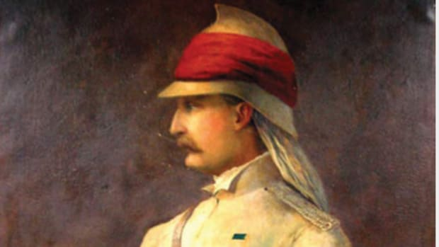 A painting of Brevet Major William Stephen Raikes Hodson depicted wearing an air tube-style helmet. By the time of the Indian Mutiny, this style of helmet.
