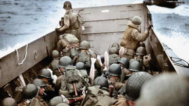 American soldiers in Higgins Boats (LCVPs) approach Omaha Beach near Normandy, France on June 6, 1944.