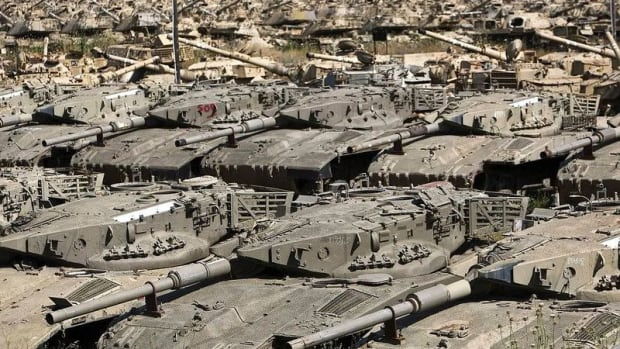 Storage of withdrawn Israeli tanks including Merkava Mk 2s, Magaches, and Centurions