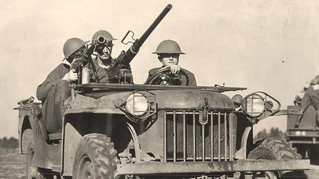 February 1941 photo of a MK II Bantam mounting both a .30- and .50-caliber machine gun.