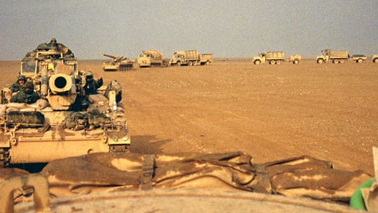U.S Army Military Vehicle Painting During the Gulf War