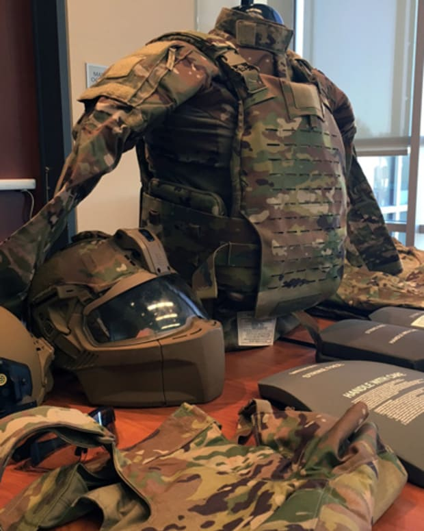 A new generation of Soldier Protection System equipment is displayed during a media roundtable by Program Executive Office Soldier during the U.S. Army Annual Meeting and Exposition in Washington, D.C., Oct. 15, 2019.(Photo Credit: Gary Sheftick)