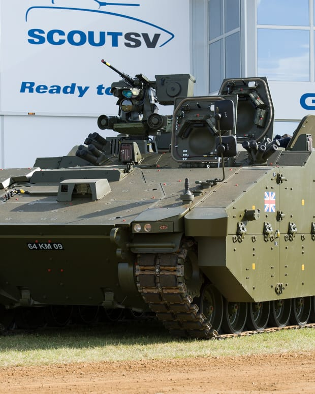 The first pre-production prototype of the Scout Specialist Vehicle (SV) at the UK's biggest military vehicle demonstration, Defence Vehicle Dynamics (DVD). The vehicle is part of the Future Rap[id Effect System (FRES).
