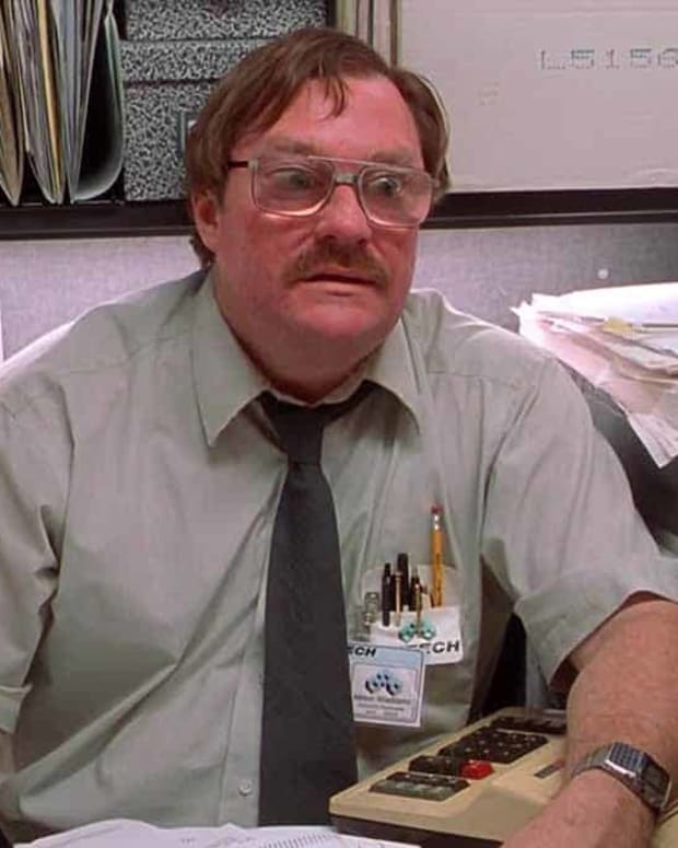 """Melvin"" at his desk in the 1999 movie, ""Office Space"""