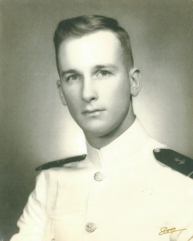Thomas Bingham Buell Naval career spanned nearly five decades. In that time, he rose from Midshipman to become a Commander of destroyers and prominent Naval historian. This graduation photo of Buell was taken in 1958.