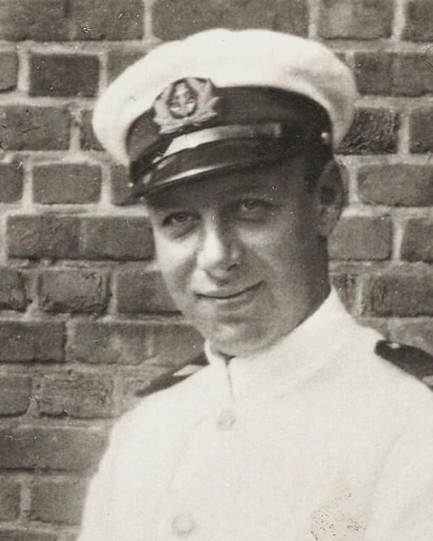 Robert Coninx in white uniform of Belgian Merchant Navy