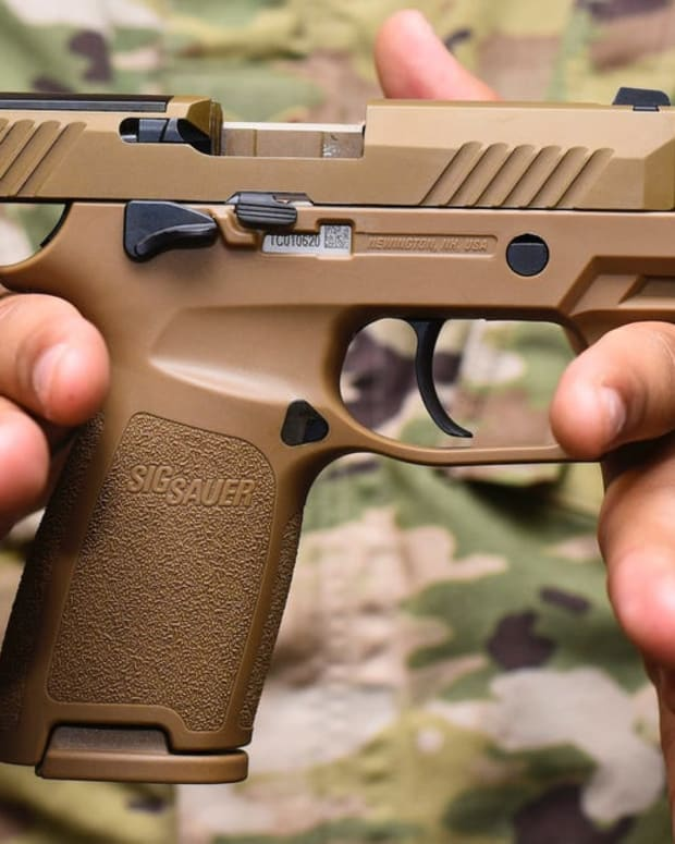 The Air Force is finally getting its first new pistol in 35 yearsJared Keller, Task & Purpose 21 hours agoStaff Sgt. Will Gonzales, 36th Security Forces Squadron armory NCO in charge, with a Sig Sauer M18 pistol at Andersen Air Force Base in Guam, August 26, 2019.