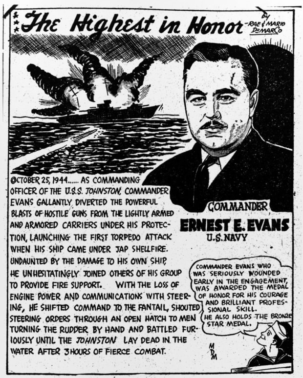 Commander Ernest E. Evans, USN illustrated telling the tale of the USS Johnston