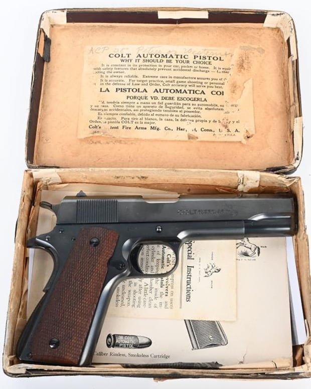 Boxed 1st-year (1929) Colt .38-caliber Super, arguably the most desirable of any firearm in Colt's 1911 lineup. Near-mint magazine and like-new bore. Retains original instructions and 'American Rifleman' ad touting the new release.
