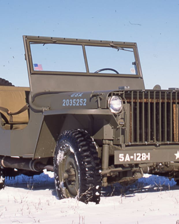 WIllys Slat Grille MB restored by Tim King photographed on snow-covered field.