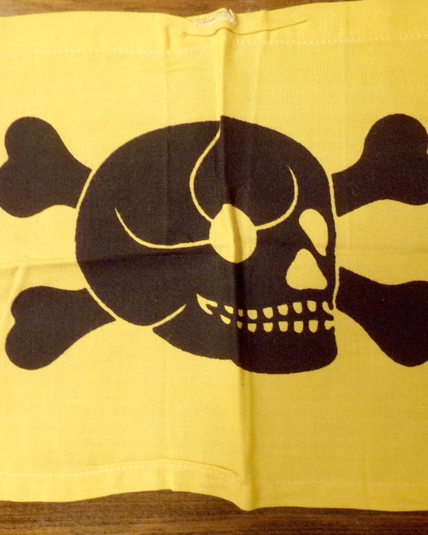 The Germans used small flags adorned with skulls and crossbones to indicate the presence of land mines.