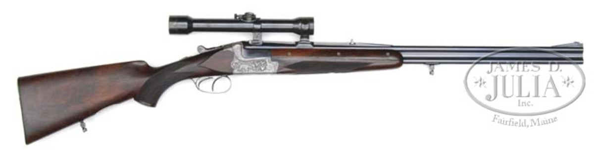 One of a kind Merkel 201E o/u double rifle and shotgun presented to Hitler's top henchman, Heinrich Himmler on or about the time of his birthday in 1941. Presale estimate of $100,000-$150,000.