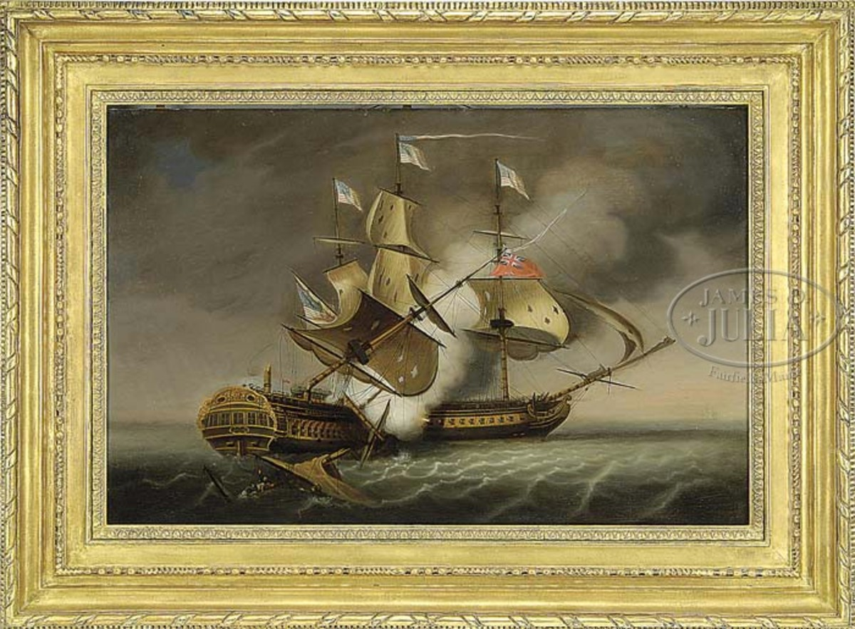 This oil on panel painting by by Thomas Birch shows the battle between the USS Constitution and the HMS Guerriere. Birch worked in the late 18th century being most active in the 19th century and is best known for his depictions of important and historic naval engagements. This work estimated at $275,000-$375,000.