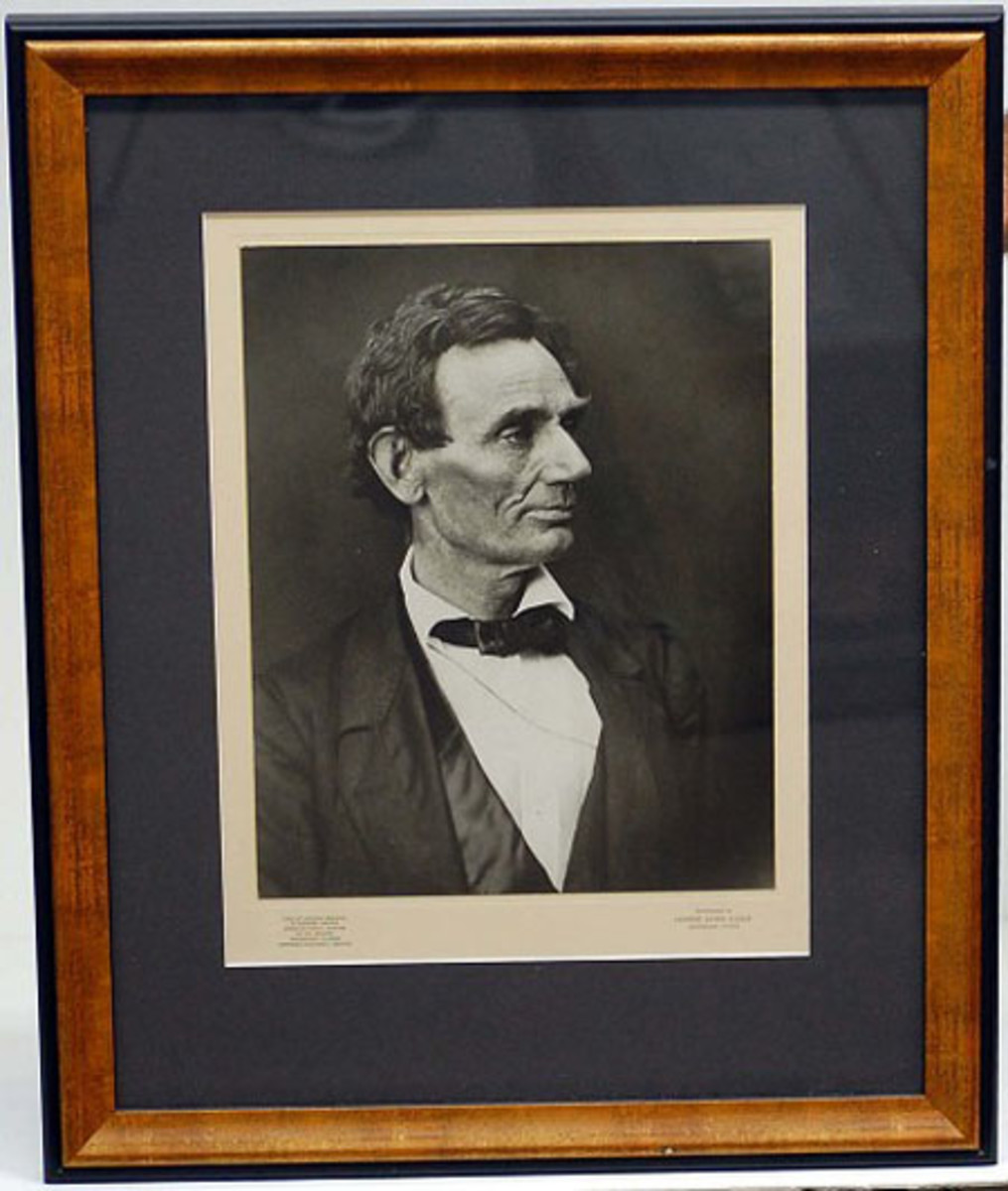 Framed 1860 campaign photo print of Abraham Lincoln, made in 1956 by Herbert Georg Studio.