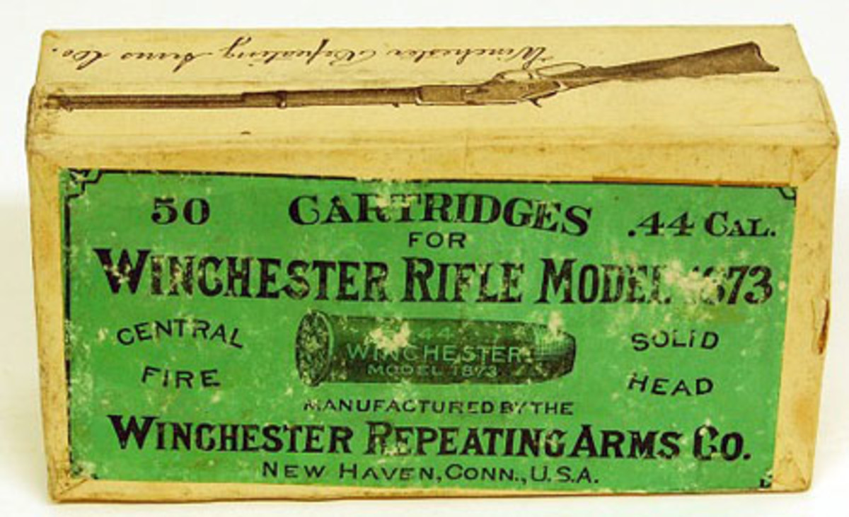 Original unopened 50-count box of Winchester Model 1873 .44 caliber cartridges, fully sealed.