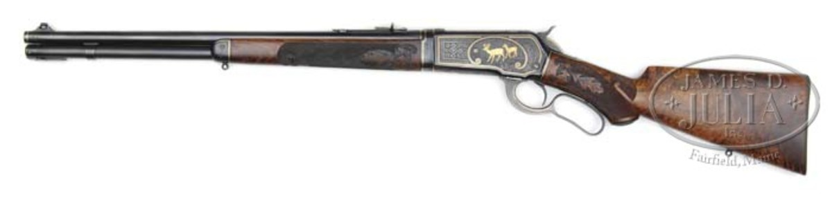 A John Ulrich-engraved, gold inlaid deluxe takedown Model 1886. This gun for many years has been on display in Cody Wyoming and is estimated at $150,000-$250,000.