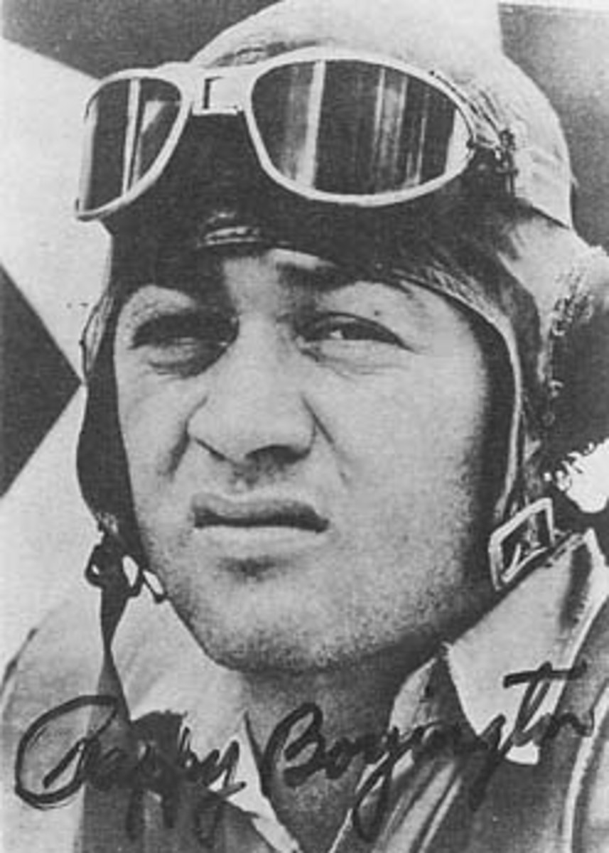 "Gregory ""Pappy"" Boyington, shown here as a member of Marine Fighter Squadron 214"