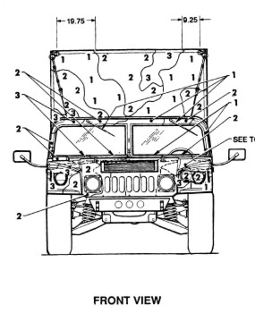 Front view of CARC pattern on a HMMWV.