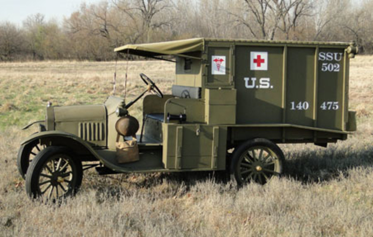 The completed U.S. Army M1917 ambulance showing the LH Side. The square water tank can be accessed by a spigot inside the lower storage box