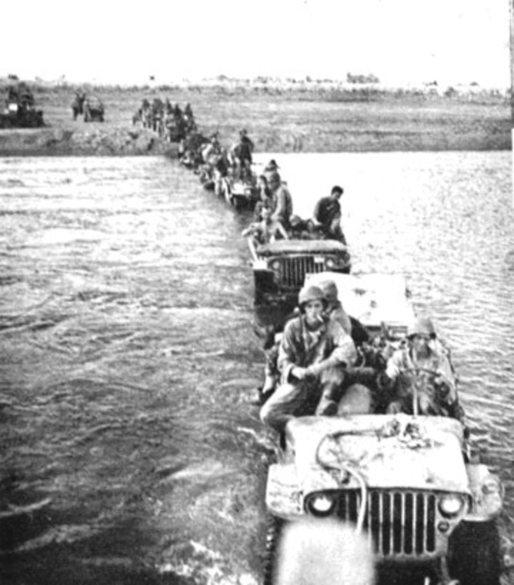 1st U.S. Cavalry Division jeeps crossing the Pampanga River in early 1945.