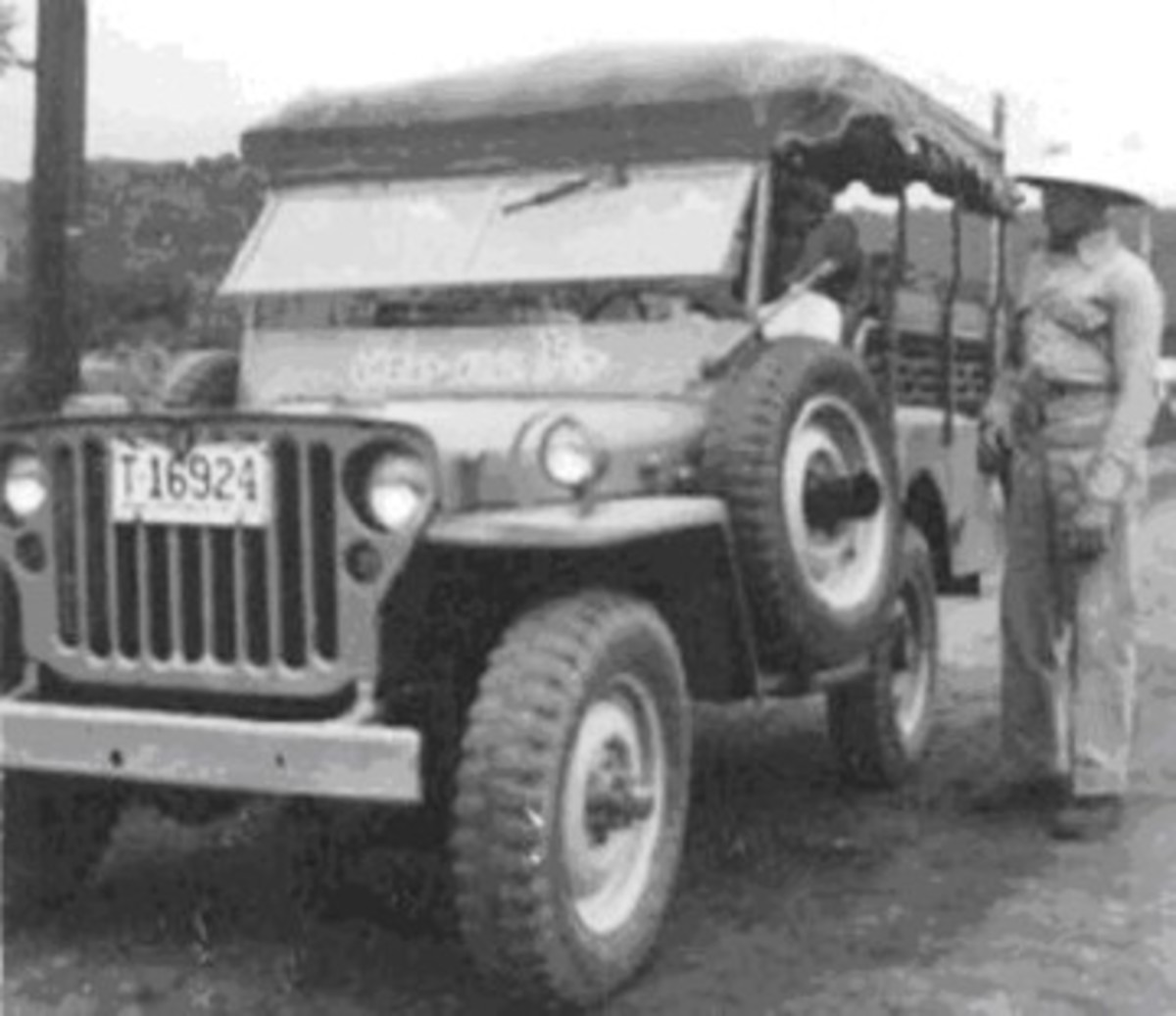 A very early GPW jeepney with a fringe on the top that sported a solid framework.