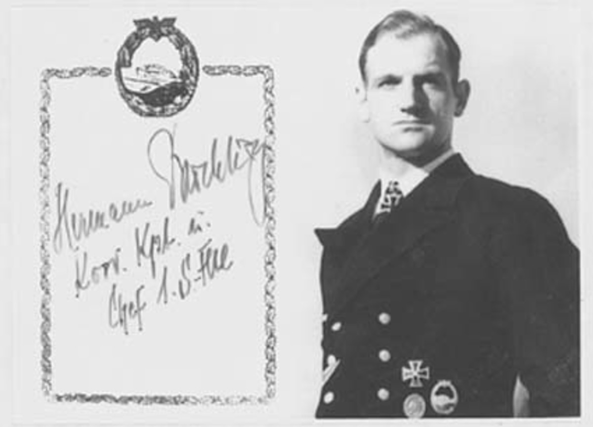 The author received this autographed picture from Korvettenkapitän Hermann Büchting in April 1987.