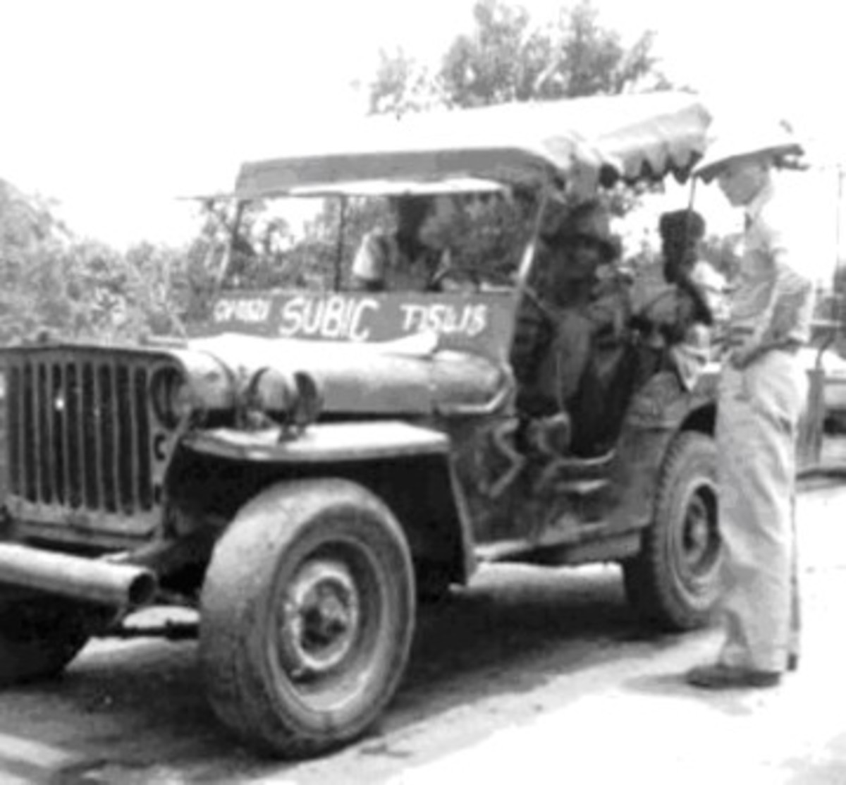 This Subic jeep sports a fringed top. These were probably set up to do passenger service within the base to ferry workers from the base gates to their place of work.