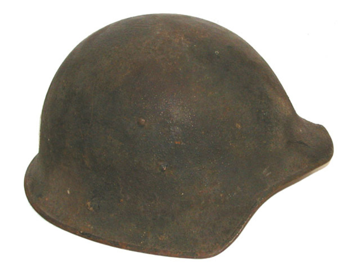 The Model 5 was also deemed to be too similar to the German Model 1916 helmet, but this design was reconsidered in the late 1930s as the Model 5A, which was rejected in favor of a modified version of the Model 1917. (Author's collection)