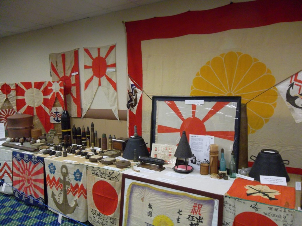 There was a house, or at least a room, of the rising sun at the MAX this year as this display of Imperial Japanese Navy flags and ordnance made it clear
