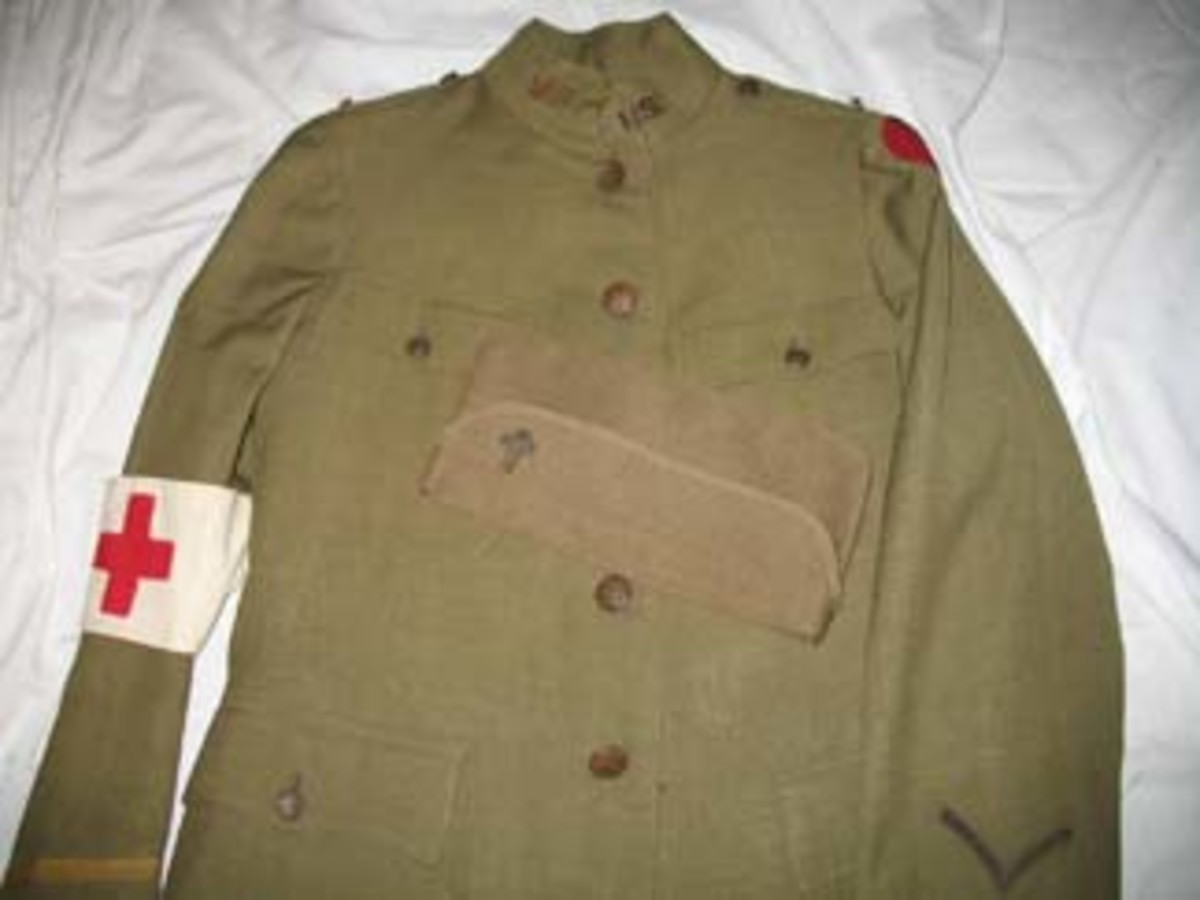Chaplain Arthur A. LeMay's privately purchased officer's uniform was patterned on the Model 1917 Army tunic. Alder & Brothers of Rochester, New York, one of the city's finest clothiers, produced the high quality and well-tailored tunic.The Red Cross armband is original.