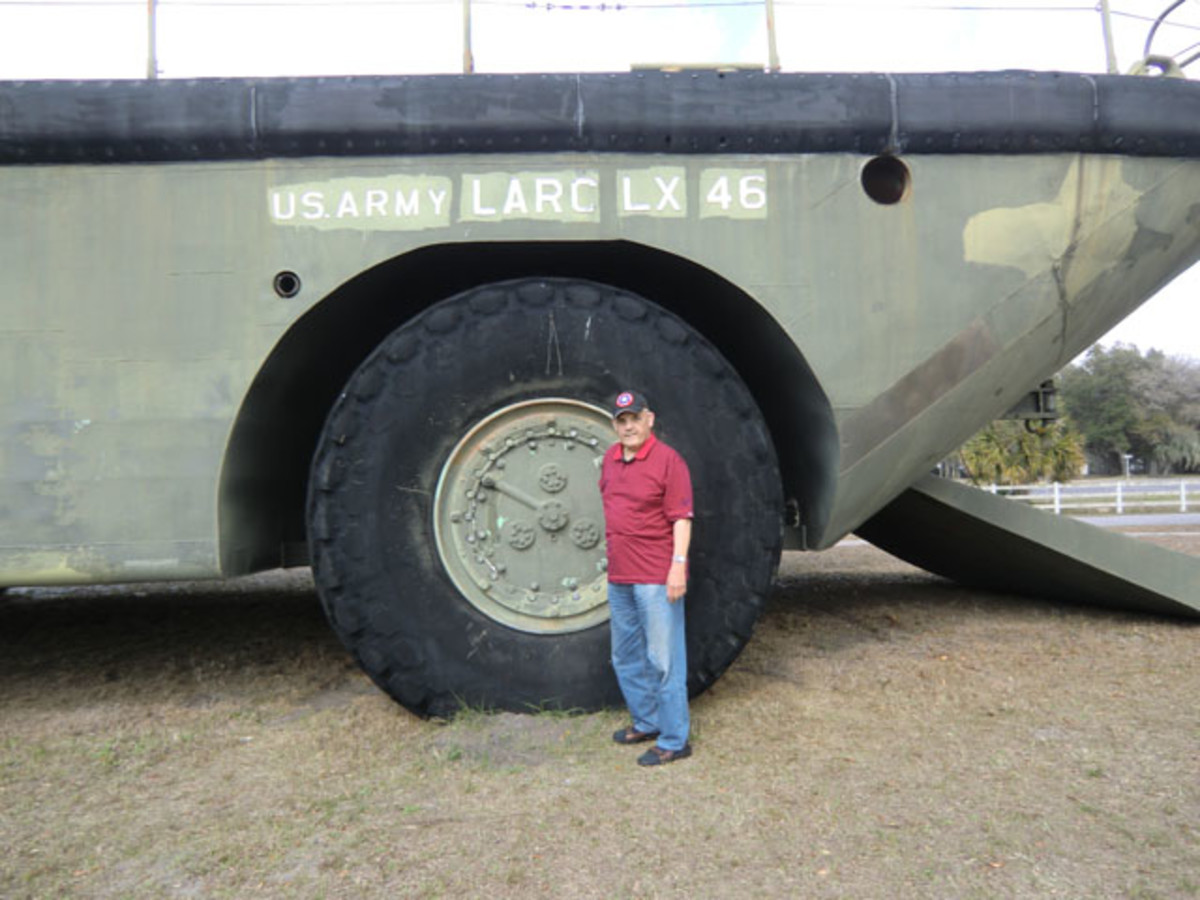 The author standing next to the 8'-diamter tire gives some sense of the enormity of the LARC-LX.